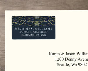 Gold Hanging Lights Wedding Address Label