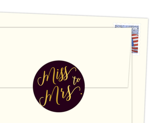 Faux Foil Miss to Mrs. Envelope Seal