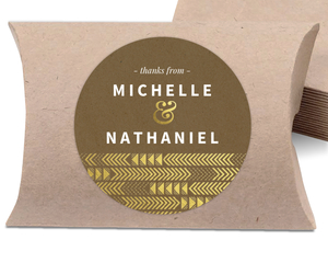 Faux Gold Foil Arrow Design Favor Label