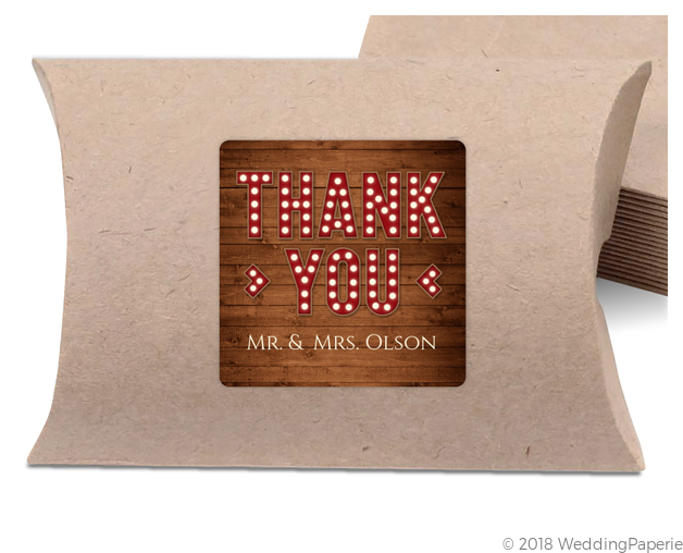 marquee rustic wood decor wedding favor label