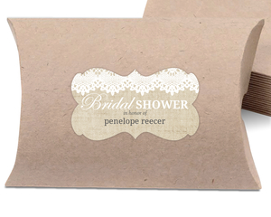 Beautiful Burlap & Vintage Lace Bridal Shower Favor Label