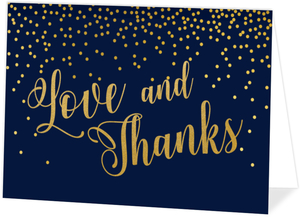 Faux Gold Foil Midnight Stars Wedding Thank You Card