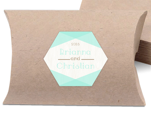 Rustic Woodgrain & Mint Wedding Favor Label