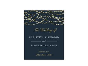 Gold Hanging Lights Wedding Welcome Poster
