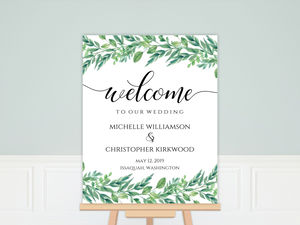 Foliage Garland Wedding Welcome Poster