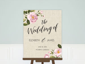 Soft Pink Flowers Wedding Welcome Poster