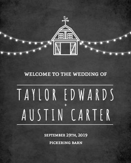 Rustic Barn Chalkboard Wedding Welcome Poster