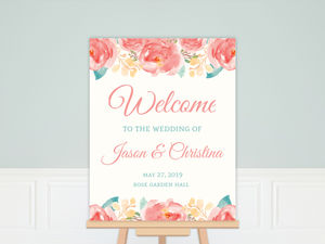 Pink Elegant Watercolor Flower Wedding Welcome Poster