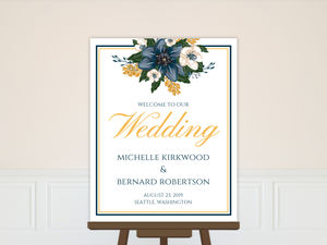 Beautiful Blue Floral Decor Wedding Welcome Poster