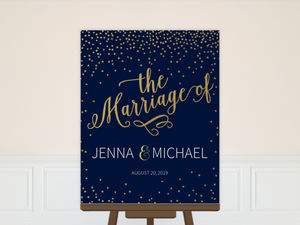Faux Foil Midnight Stars Wedding Welcome Poster