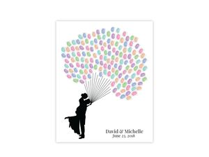 Thumbprint Balloon Couple Guest Book Poster