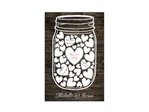 Rustic Mason Jar Wedding Guest Book Poster