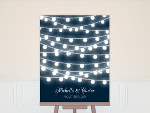 Glowing String Lights Guest Book Poster