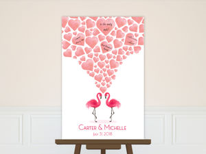 Pink Watercolor Flamingos Guest Book Poster