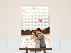 Hearts and Photograph Wedding Guest Book Poster