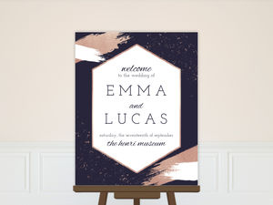 Faux Rose Gold Paint Stroke Wedding Poster