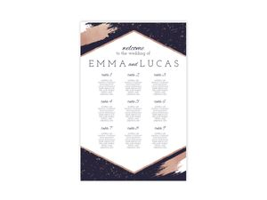 Faux Rose Gold Paint Stroke Wedding Seating Chart