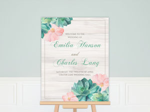 Watercolor Succulents Wedding Welcome Poster