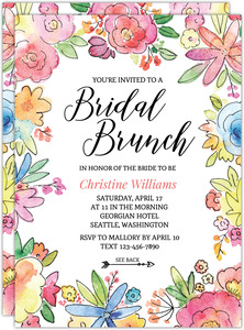 Colorful Watercolor Flowers Bridal Shower Invitation