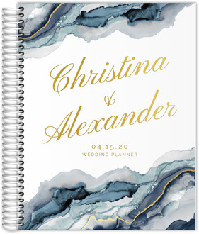 Modern Navy Ink Real Foil Wedding Planner