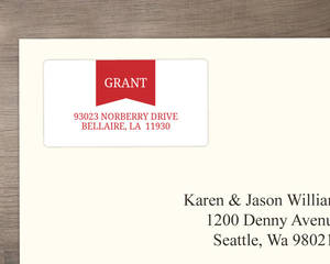 Red Modern Banner Address Label