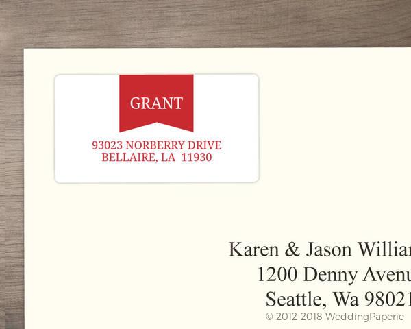 red modern banner address label wedding address labels