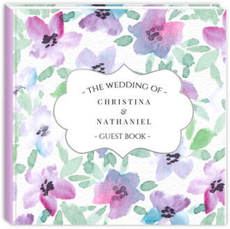 Elegant Pink & Purple Floral Watercolor Wedding Guest Book