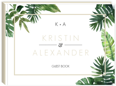 Tropical Green Frame Leaves Wedding Guest Book Wedding Guest Books