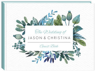 Watercolor Foliage Frame Wedding Guest Book 8x6