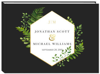 Faux Foil And Ferns Wedding Guest Book 8x6