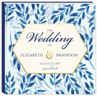 Elegant Blue Watercolor Leaves Wedding Guest Book