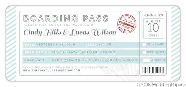Tropical Destination Boarding Pass Wedding Invitation Wedding