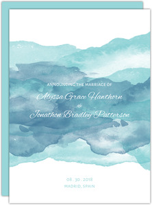 Watercolor Waves Wedding Announcement