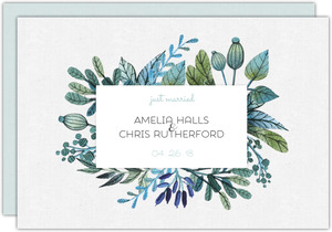 Floral Watercolor Frame Wedding Announcement
