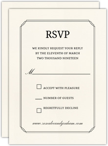 beautiful formal double frame wedding response card - Wedding Invitation Response Card