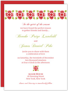 Red and Green Watercolor Floral Wedding Invites