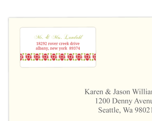 Red and Green Watercolor Floral Address Label