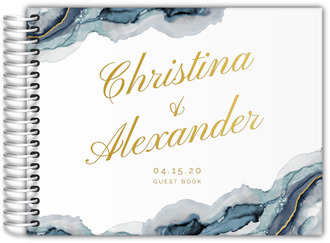 Modern Navy Ink Real Foil Wedding Guest Book 8x6