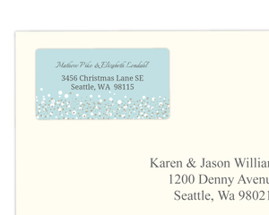 Blue and Taupe Snow Winter Wedding Address Label