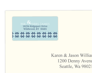 White and Navy Sweater Address Label