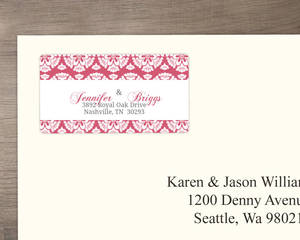 Papaya and White Floral Pattern Address Label