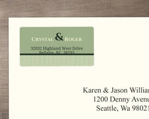 Modern Kiwi and Gray Stripes Address Label
