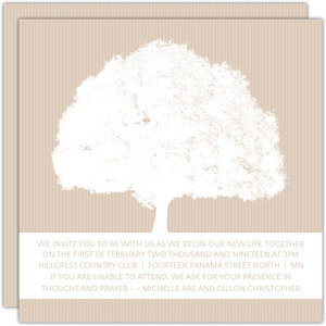 Dusty Rose and White Grand Tree Wedding Invitation