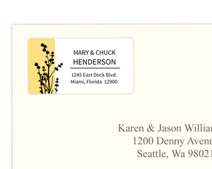 Marigold and Black Floral Silhouette Wedding Address Label