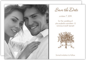 Brown and White Antique Wedding Save the Date