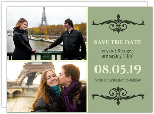 Modern Kiwi and Gray Stripes Save The Date