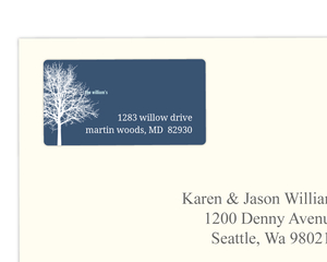 Navy Blue Winter Tree Address Label