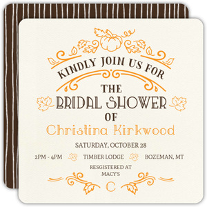 Ornate Rustic Pumpkin Bridal Shower Invitation