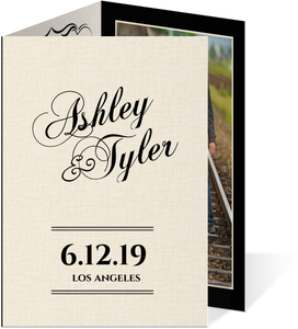 Black Vintage Trifold Wedding Invitation