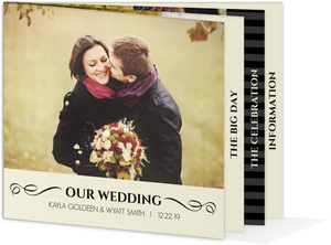 Black and Cream Wedding Booklet Invite